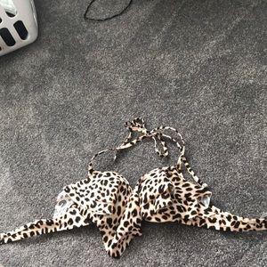 PINK push-up cheetah, ruffle swim top